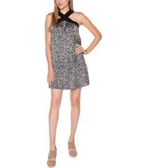 belldini black label petite printed halter dress with ruffle hem