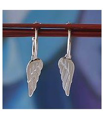 sterling silver dangle earrings, 'angel wings' (mexico)