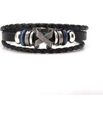 braccialetto d'epoca bangle cross wave braid wax rope multistrato bracciale gioielli moda per gli uomini