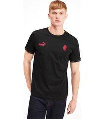 ac milan football culture t-shirt voor heren, zwart/rood, maat xxl | puma