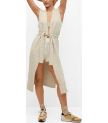 mango women's belt sleeveless cardigan