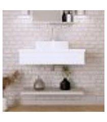 conjunto para banheiro bancada com cuba aria 41 retangular e prateleira city 805 branco chess