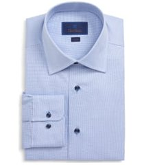 men's big & tall david donahue trim fit solid dress shirt, size 18 - 36/37 - blue
