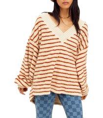 women's free people connell stripe faux fur top, size medium - beige