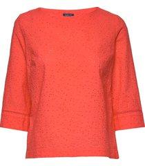 o2. broderie anglaise top blus långärmad orange gant
