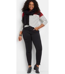 maurices plus size womens denimflex™ backed destructed black jegging