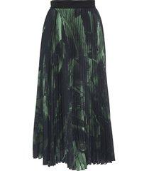 green brush stroke plisse skirt