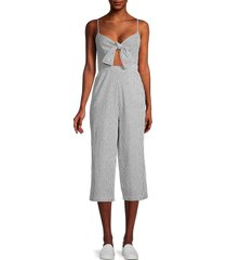 bcbgeneration women's striped seersucker jumpsuit - white grey - size 6