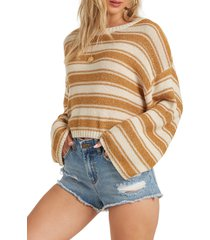 billabong hello there stripe cotton blend crewneck sweater, size large in wild honey at nordstrom