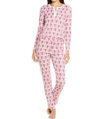 women's roller rabbit monkey pajamas, size small - pink
