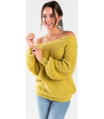 bethanie off the shoulder sweater - green