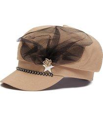 mesh embellished pin twill newsboy cap
