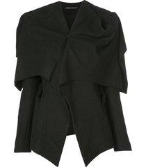 yohji yamamoto 'hand' open-back cape - black