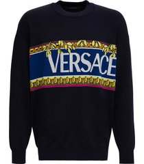 versace cotton blend sweater with logo