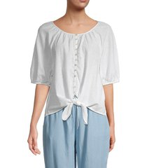 beach lunch lounge women's lala button-front cotton-blend top - white - size s
