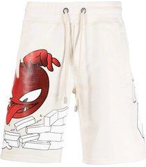 gcds cream cotton logo-print track shorts