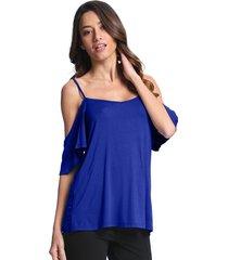 zanzea mujer camisas de corte bajo del hombro del volante de la manga de la honda de oscilación tops sólido ocasional blusones camisetas azul -azul