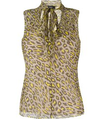 theory tie-scarf leopard-print blouse - neutrals