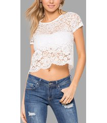 white lace see through short sleeves cropped top