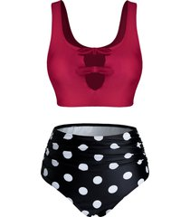 polka dot print keyhole high waisted tankini swimwear