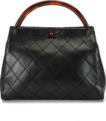 chanel pre-owned 1998 quilted tortoiseshell detailing tote - black