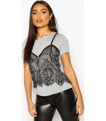 2 in 1 t-shirt & lace cami, grey marl