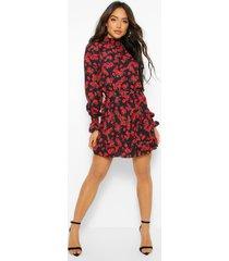 bloemenprint skater jurk met ceintuur en hoge kraag, black