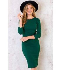 rib stretch jurk smaragd