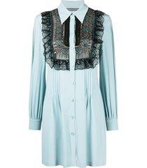 alberta ferretti ruffled panel shirt dress - blue