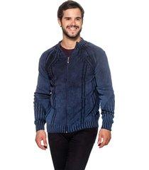 jaqueta officina do tricô frança azul