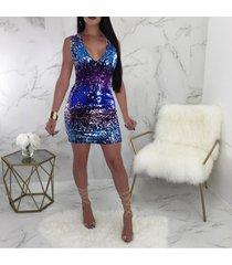 2019 primavera vestido sexy sin mangas con cuello en v paquete delgado-azul