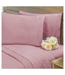 lençol sem elástico cama viúva 140fios com vira algodáo-pl rosê