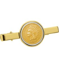 american coin treasures gold-layered indian penny coin tie clip