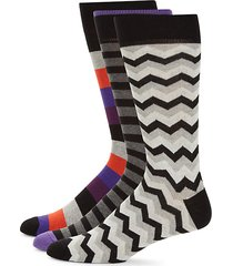 3-pack chevron & stripes crew socks