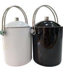 kit c/2 baldes para gelo em acrãlico preto e branco c/pinã§a - incolor - dafiti