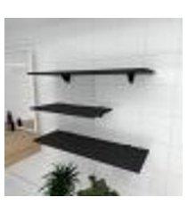 kit 3 prateleiras banheiro em mdf suporte tucano preto 1 60x30cm 2 90x30cm modelo pratbnp13