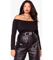 womens shrug it off-the-shoulder plus high-leg bodysuit - black