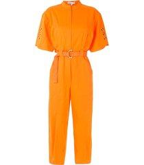 nk short sleeves belted jumpsuit - orange