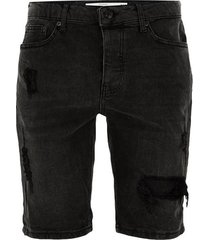 mens washed black ripped denim shorts