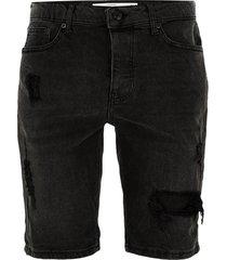 mens black ripped denim skinny shorts