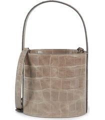 bissett croc-embossed leather bucket bag
