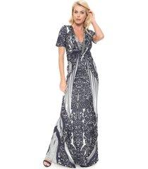vestido lança perfume longo pedraria branco/azul-marinho