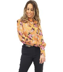camisa mania de sophia chocker floral marrom