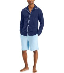 club room men's piped pajama shirt, created for macy's