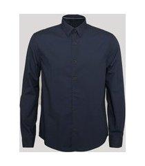 camisa comfort manga longa azul marinho