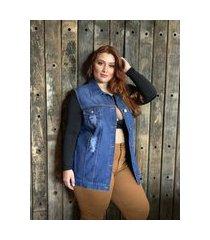 maxi colete jeans - 68403680