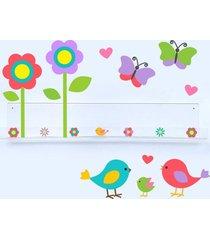 adesivo de parede e livreiro quartinhos pássaros, borboletas e flores incolor