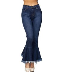 jeans elasticizzati vintage a zampa d'elefante