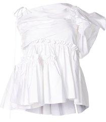 dice kayek one shoulder ruffle blouse - white
