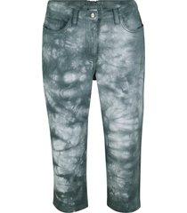 pantaloni capri in twill effetto batik con cinta comoda (verde) - bpc bonprix collection